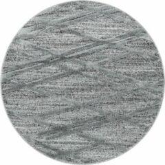 Antraciet-grijze Pisa Modern Design Rond Vloerkleed Laagpolig Grijs - 120 CM ROND