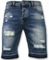 Enos Korte Broeken Heren - Slim Fit Ripped Shorts - Blauw Korte Broek Short Jeans Maat W32
