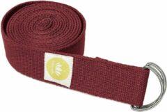 Bordeauxrode Lotuscrafts Yoga Riem Bordeaux - Wijnrood - 100% BIO katoen (KBA) - GOTS - voor betere rek - voor beginners en gevorderden - yogariem met metalen sluiting [250 x 3,8 cm] - yoga belt - yoga gordel - yoga strap - stretch strap