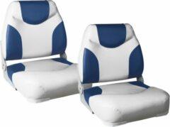 Pro.tec Bootstoel - Imitatieleer - 2 stuks set - Wit en blauw
