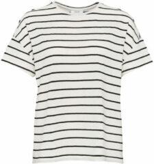 Zwarte OPUS Sileika T-shirt in linnenblend met streepprint