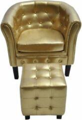 VidaXL Kuipstoel met voetenbankje kunstleer goud