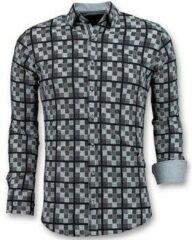 Witte Tony Backer Italiaanse Overhemden Heren - Schess Motief Blouse - 3020 - Blauw Casual overhemden heren Heren Overhemd Maat 3XL