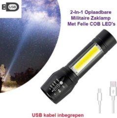 Zilveren HÖFFTECH 2-Stuks USB Oplaadbare Militaire Mini Zaklamp Met Felle COB LED's