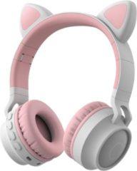 MeGoo Kinder hoofdtelefoon - koptelefoon Bluetooth met led katoortjes licht grijs - roze - NIEUW