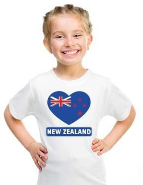 Afbeelding van Shoppartners Nieuw Zeeland kinder t-shirt met Nieuw Zeelandse vlag in hart wit jongens en meisjes XS (110-116)