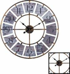 XL Grote Ronde Wandklok Landelijk / Vintage 60 Cm met Cijfers - Wand Klok Modern / Landelijke Rond Brons - Klassieke Wandklokken zwarte wijzer - Keukenklok - Muurklok Wand Klok - Afm. 60 x 60 Cm - Decopatent®
