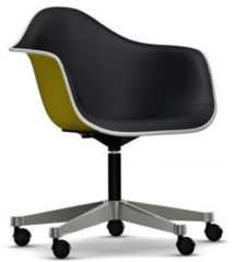 Vitra Eames Plastic Armchair PACC mit Vollpolster - Schale senf, Bezug nero - Keder weiß