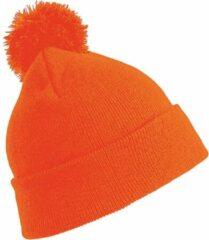 Result Trendy warme wintermuts in het oranje met pom pom voor volwassenen - Damesmutsen / herenmutsen - 100% polyacryl