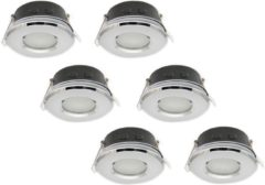 Groenovatie LED line Inbouwspot - Rond - GU10 Fitting - Waterdicht IP44 - Ø 60 mm - 6-Pack - Chroom