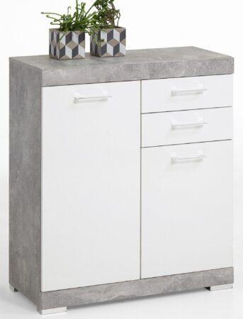 Afbeelding van FD Furniture Commode Bristol 2 van 90 cm hoog in grijs beton met wit