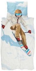 Witte Snurk Ski Boy kinderdekbedovertrekset van biologisch katoen 160TC - inclusief kussenslopen