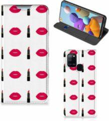 Beschermhoes Samsung Galaxy A21s Telefoonhoesje Lipstick Kiss