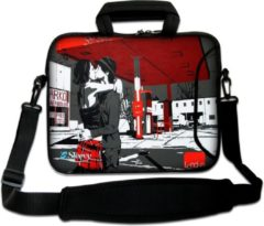 Rode False Sleevy 17,3 laptoptas London love - laptophoes voorvak - laptop sleeve - smalle laptoptas - reistas - schoudertas - schooltas - heren dames tas - tas laptop