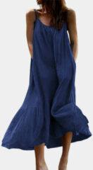 Newchic Pleated Solid Color Spaghetti Straps Plus Size A-line Dress