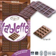 "Bruine Silikomart Siliconen Chocoladevorm ""Tablette"""