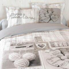 Grijze Cotton Club Dekbedovertrek Loved - 1 Persoons - 140x200/220 cm + 1 kussensloop 60 x 70 cm