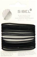 Sibel - Thin Elastic Hair Bands - Black - 16 Stuks