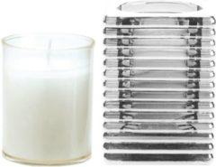 Candles by Spaas 1x Transparante glazen kaarsenhouder met kaars en 3x navullingen 7 x 10 cm 24 branduren - Geurloze kaarsen - Woondecoraties