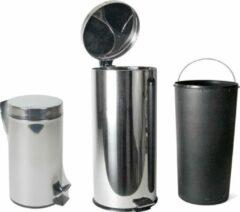 Zilveren Gerimport RVS Pedaal Afvalbak 30L met binnenbak 36x30x65cm
