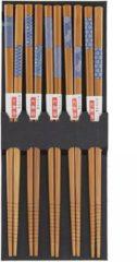 Bruine Davim 5 paar Bamboe Aziatische Chopsticks van 22,5 cm - Duurzaam en Herbruikbaar - Japanse stijl - Sushi - Giftset