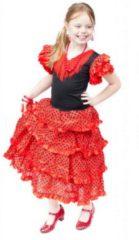Spaansejurk NL Spaanse jurk - Flamenco - Rood/Zwart - Maat 164/176 (16) - Verkleed jurk