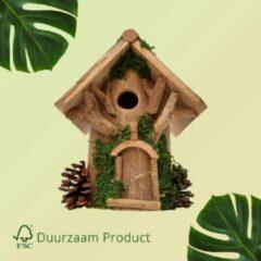 Bruine Duurzaam Vogelhuisje opening van 27 mm Vogel Huisje met Groene Details | GerichteKeuze