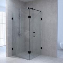 Sanituba Complete Profielloze Douchecabine Rechthoek 3-delig 90x140 cm Zwart Mat