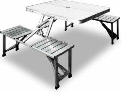 Grijze Merkloos / Sans marque Campingtafel, picknicktafel, Aluminium blad en zitting
