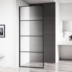 Inloopdouche Horizon 120x200 cm Inclusief Mat Zwart Raster en NANO Glas