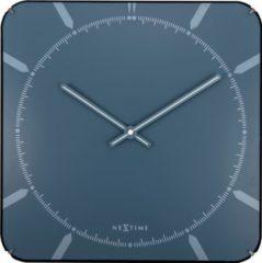 NeXtime Michael Square Dome - Klok - Stil uurwerk - Vierkant - Glas - 35x35 cm - Blauw