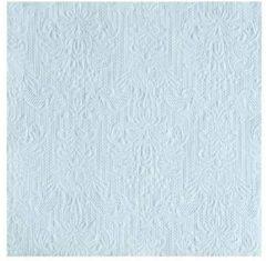 Merkloos / Sans marque Luxe servetten barok patroon lichtblauw 3-laags 15 stuks