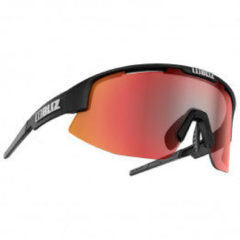 Zwarte BLIZ - Matrix - Matt Black Frame // Brown With Red Multi Lens