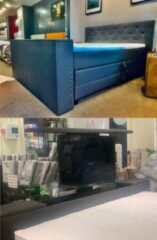 """Antraciet-grijze SleepDay Luxe Boxspring RIVA + TV LIFT 32"""" - 140x200cm"""