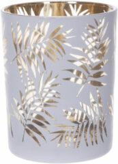 Cosy and Trendy Theelichthouders/waxinelichthouders Glas Antiek Wit/goud Bladerenprint 12,5 Cm - Windlichtjes/kaarsenhouders