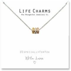 Life Charms Ketting met Giftbox 3 Colour Gold Pave Rings