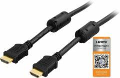 Zwarte DELTACO HDMI-1005, Premium High Speed HDMI met Ethernet, 3D, 4K, Ultra HD 60Hz, vergulde connectoren, 19-pins mannelijk-mannelijk, 0.5m