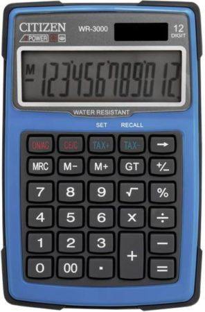 Afbeelding van Citizen Office WR-3000BL Bureaurekenmachine werkt op zonne-energie, werkt op batterijen Blauw Aantal displayposities: 12