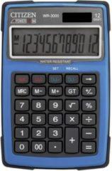 Citizen Office WR-3000BL Bureaurekenmachine werkt op zonne-energie, werkt op batterijen Blauw Aantal displayposities: 12