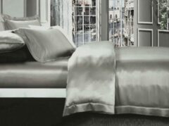 Silkmood Zijden dekbedovertrek, Parelmoer grijs 140x220cm, 100% zijde,405thread count (19momme)