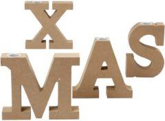 Zwarte Creotime set kandelaars X-Mas hout 14,5 cm bruin 4 stuks