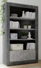 Pesaro Mobilia Open boekenkast Urbino 190 cm hoog in oxid met grijs beton