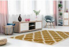 Kayoom Beige Geel vloerkleed - 160x230 cm - Symmetrisch patroon - Modern