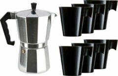 Merkloos / Sans marque Zilveren percolator/espresso koffie apparaat met 6x zwarte kopjes - Koffiezetapparaat met mokken - Koffiepercolator