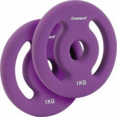 ScSPORTS® 2 x 1 kg Halterschijven neopreen coating - Gewichten - paars - met handgrepen - Ø boring 30 mm