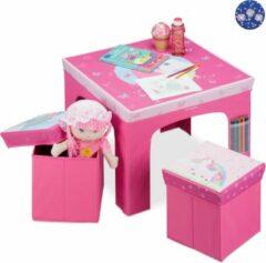 Roze Relaxdays zitgroep kinderen - kindertafel met poefs - hocker - kinderkamer - opbergruimte A