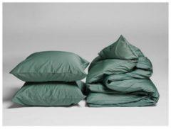 Yumeko dekbedovertrek (set) - 140x220 + 1/60x70 - Deep groen - 100% biologisch en fairtrade katoen, satijn geweven