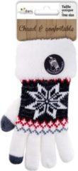 Merkloos / Sans marque Touchscreen gebreide winter handschoenen Nordic/wit voor dames - Smartphone handschoenen