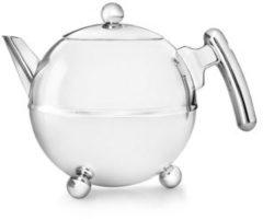 Zilveren Bredemeijer Bella ronde theepot - 1,2 liter - chroom beslag