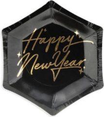 Partydeco Poland Borden New Year's Eve - Happy New Year, zwart, 12.5 cm (1 zakje met 6 stuks)